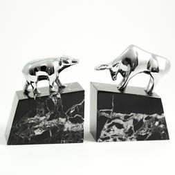 253_Bull_Bear,_Solid_Brass_Chrome_Plated_on_Marble_Bookends