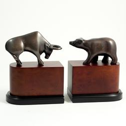 253_Wall_Street,_Bronzed_Brass_on_Burl_wood_Bookends