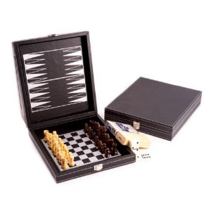 545_Black_Leatherette_5_in_1_Game_Set._Includes_Chess,_Backgammon,_Cribbage,_