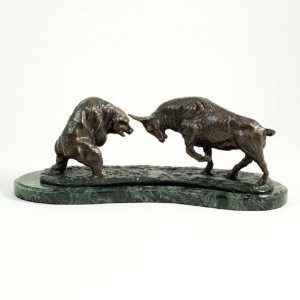 545_Bronzed_Finished_Charging_Bull_Bear_Sculpture_on_Marble_Base.