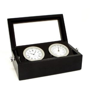 545_Chrome_Clock_Thermometer_in_Black_Box_w_Glass_Top