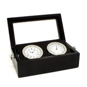 545_Chrome_Clock_Thermometer_in_Black_Box_w_Glass_Top