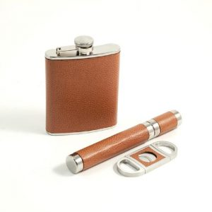 545__Pieces_Leather_Flask_6_oz_,_Cigar_Case_Cutter_Set